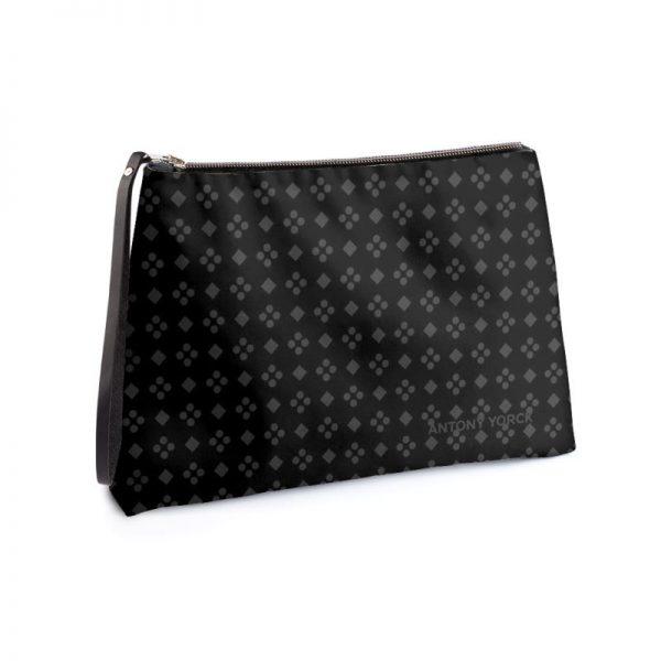 antony yorck business clutch tasche charlotte pattern print purple black white 135120 01