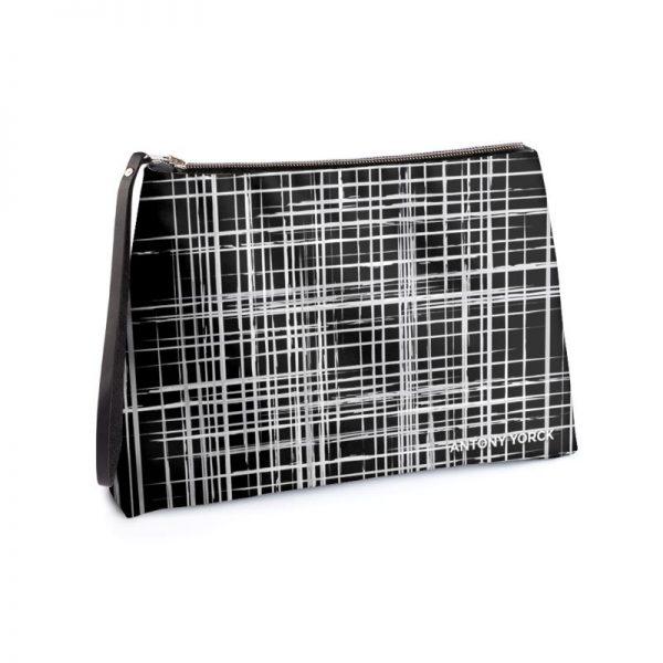antony yorck business clutch tasche drandimon pattern print purple black white 135220 01