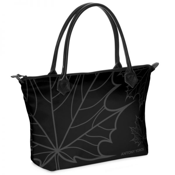antony yorck shopper tasche maple leaf floral print style black anthrazit 134770 01