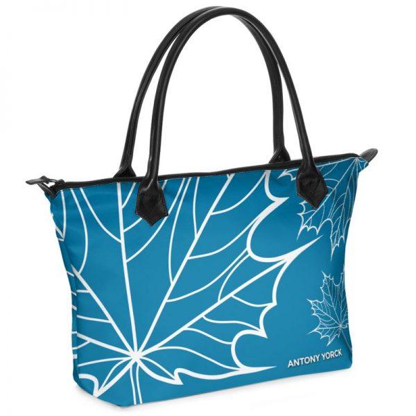 antony yorck shopper tasche Maple Leaf floral print style blue white 134506 01