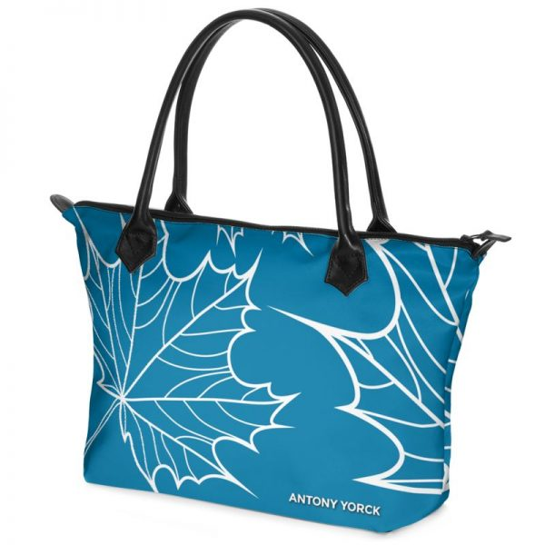 antony yorck shopper tasche maple leaf floral print style blue white 134506 02