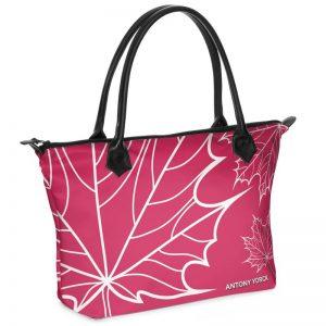 antony yorck shopper tasche maple leaf floral print style magenta white 134518 01
