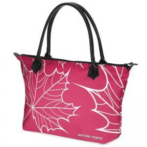 antony yorck shopper tasche maple leaf floral print style magenta white 134518 02