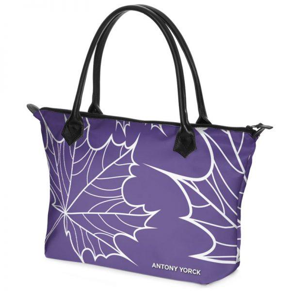 antony yorck shopper tasche maple leaf floral print style purple white 134327 02