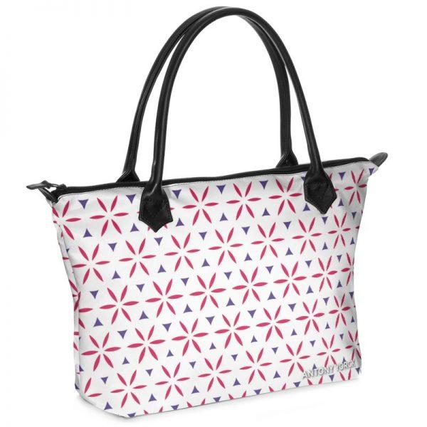 antony yorck shopper tasche vivalifa floral pattern print style purple magenta white 140925 01