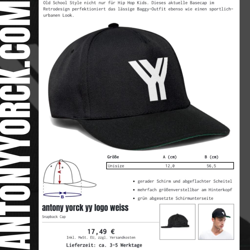 antony yorck snapback cap black logo description prize urban street style