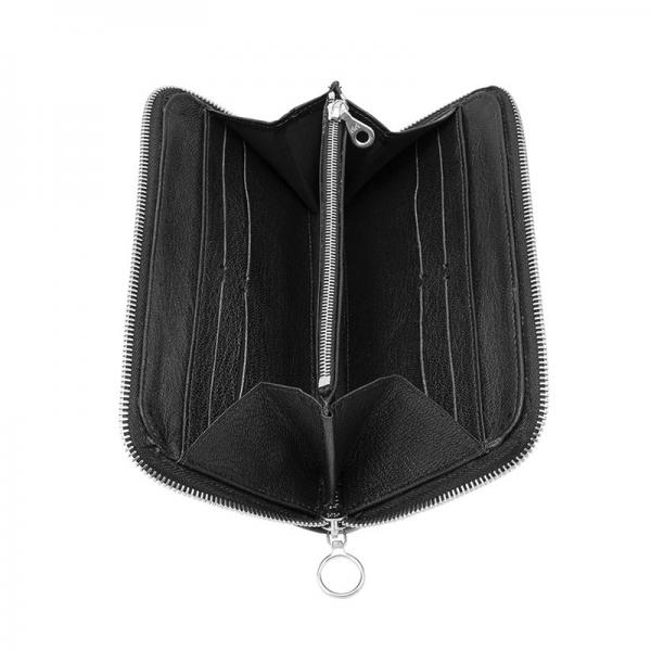 antony yorck jet set black man woman leather purse wallet open