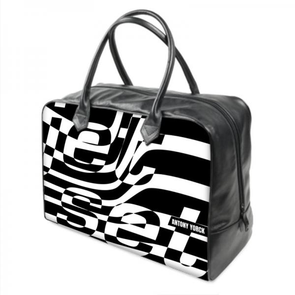 antony yorck jet set black medium leather weekender holdall duffle travel bag left