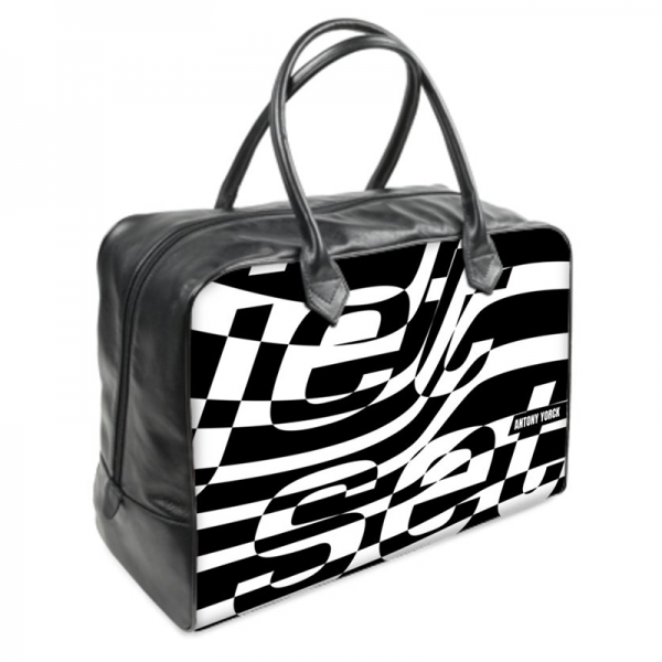 antony yorck jet set black medium leather weekender holdall duffle travel bag right