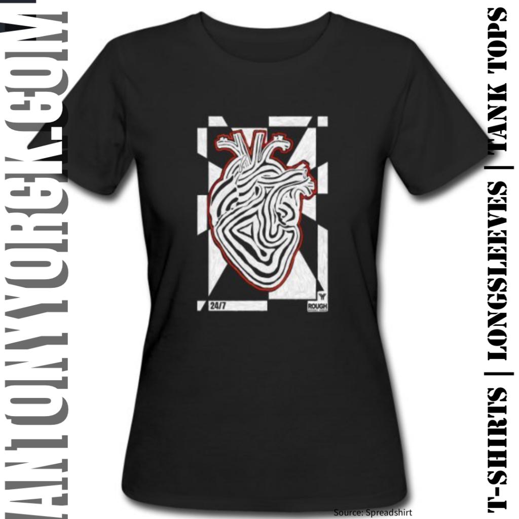 antony yorck rough design 24/7 heart beat power love tshirt 001