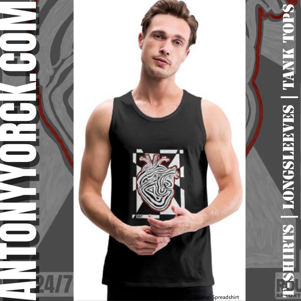 antony yorck rough design 24/7 heart beat power love tshirt 002