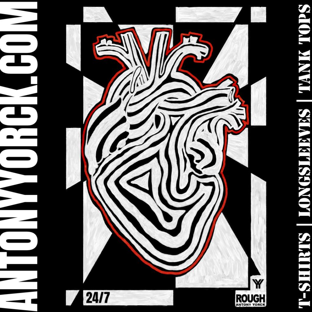 antony yorck rough design 24/7 heart beat power love tshirt 003