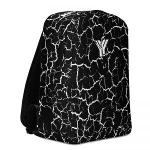 antony yorck rucksack craquelee schwarz logo weiss extra fach laptop notebook 15 zoll plus geheimfach wasserfest ansicht linke Seite