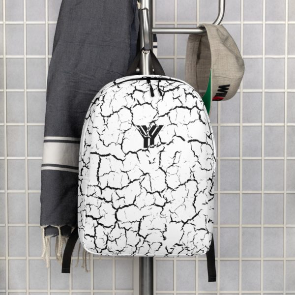antony yorck rucksack craquelee weiss logo schwarz extra fach laptop notebook 15 zoll plus geheimfach wasserfest ansicht vorderseite garderobe