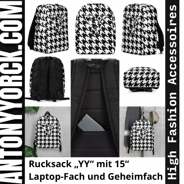 Rucksack Hahnentritt Muster Collection OBVIOUS 6 antony yorck rucksack geheimfach wasserfest hahnentritt muster logo damen herren schwarz weiss instagram 5e8caf1884fb4