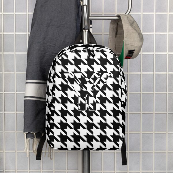 Rucksack Hahnentritt Muster Collection OBVIOUS 5 antony yorck rucksack geheimfach wasserfest hahnentritt muster logo damen herren schwarz weiss vorderseite gerderobe 5e8caf1884fb4