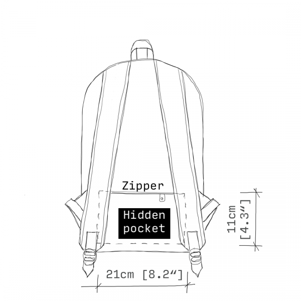 antony yorck rucksack backpack laptop waterproof hidden pocket dimensions back schematic drawing 0001