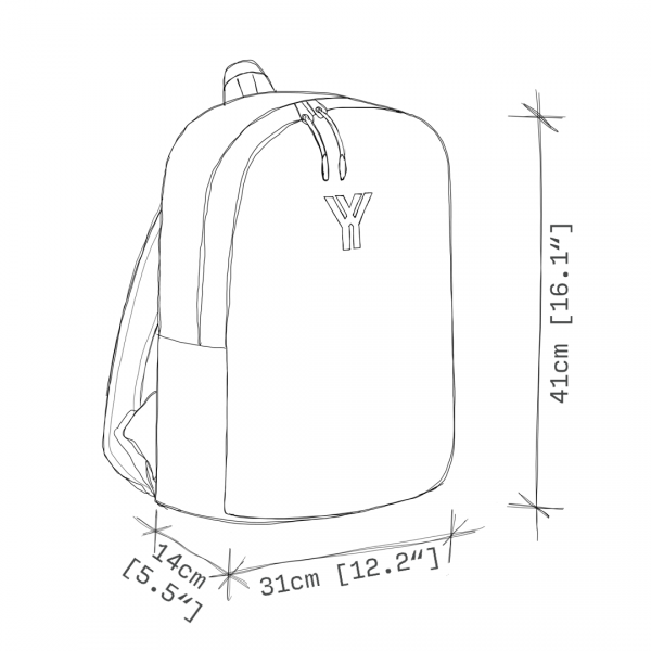 antony yorck rucksack backpack laptop waterproof hidden pocket dimensions front side view schematic drawing 0004