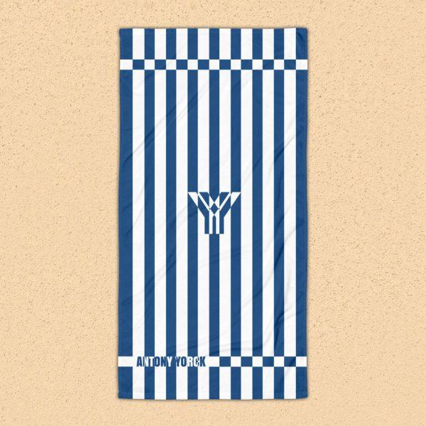 Strandtuch blau weiß gestreift collection OBVIOUS 1 antony yorck beach towel blanket badetuch strandtuch stripes classic blue white 0001