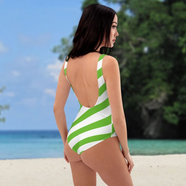 Badeanzug einteilig grün weiß schräg gestreift • collection OBVIOUS 1 antony yorck one piece swimsuit badeanzug swimwear bechwear stripes green white 0000a