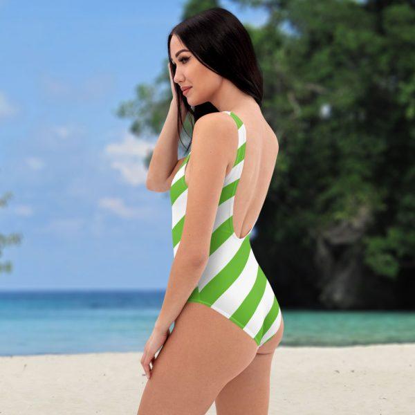 Badeanzug einteilig grün weiß schräg gestreift • collection OBVIOUS 3 antony yorck one piece swimsuit badeanzug swimwear bechwear stripes green white 0003a