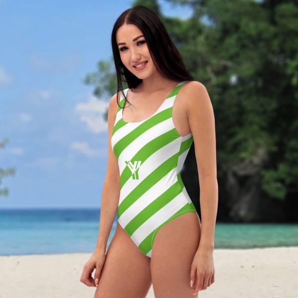 Badeanzug einteilig grün weiß schräg gestreift • collection OBVIOUS 4 antony yorck one piece swimsuit badeanzug swimwear bechwear stripes green white 0004a