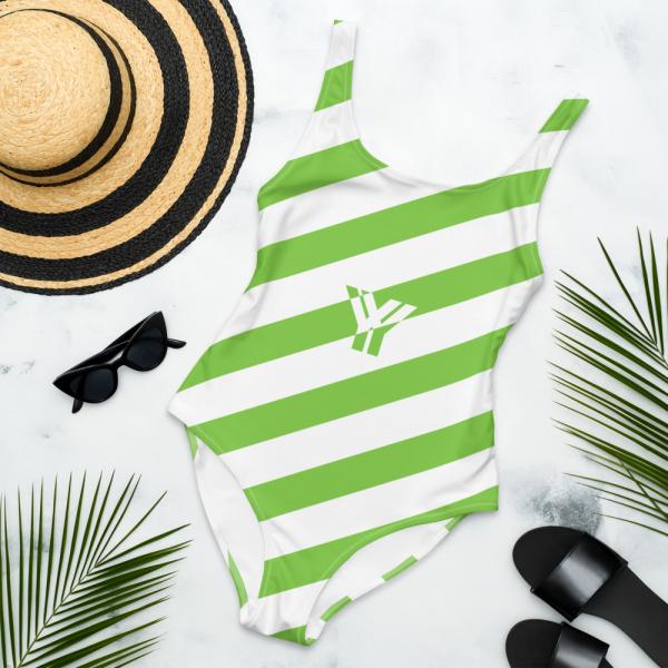 Badeanzug einteilig grün weiß schräg gestreift • collection OBVIOUS 6 antony yorck one piece swimsuit badeanzug swimwear bechwear stripes green white 0011
