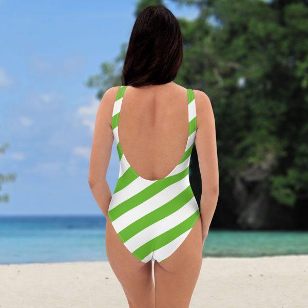 Badeanzug einteilig grün weiß schräg gestreift • collection OBVIOUS 5 antony yorck one piece swimsuit badeanzug swimwear bechwear stripes green white 0013a