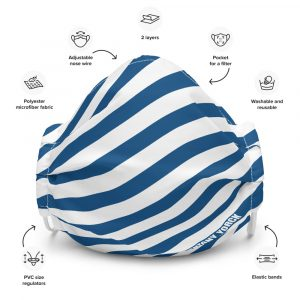 Antony Yorck Online Shop Microfaser Designer Gesichtsmaske blau weiss gestreift Mund-Nasen-Maske anpassbar an Nase verstellbare Ohrschlaufen 0003
