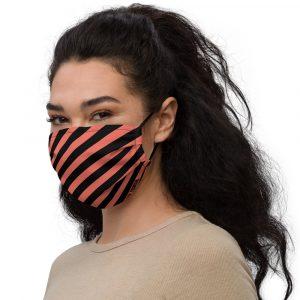 Antony Yorck Online Shop Microfaser Designer Gesichtsmaske coral schwarz gestreift Mund-Nasen-Maske anpassbar an Nase verstellbare Ohrschlaufen 0015
