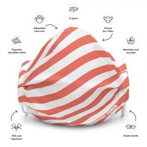 Antony Yorck Online Shop Microfaser Designer Gesichtsmaske coral rot weiss gestreift Mund-Nasen-Maske anpassbar an Nase verstellbare Ohrschlaufen0003