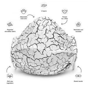 Antony Yorck Online Shop Microfaser Designer Gesichtsmaske Craquelee weiss Mund-Nasen-Maske anpassbar an Nase verstellbare Ohrschlaufen0003
