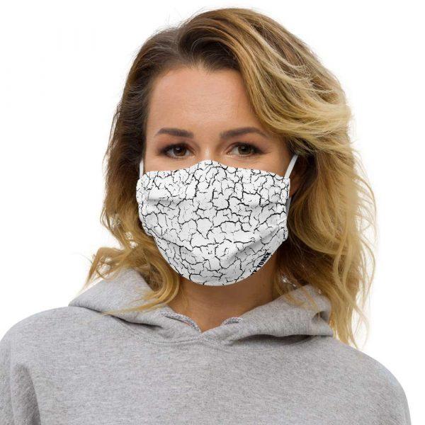 Antony Yorck Microfaser Designer Gesichtsmaske Craquelee weiss Mund-Nasen-Maske anpassbar an Nase verstellbare Ohrschlaufen0007