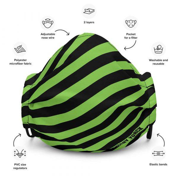 Antony Yorck Microfaser Designer Gesichtsmaske grün schwarz gestreift Mund-Nasen-Maske anpassbar an Nase verstellbare Ohrschlaufen0049