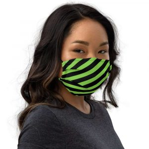 Antony Yorck Microfaser Designer Gesichtsmaske grün schwarz gestreift Mund-Nasen-Maske anpassbar an Nase verstellbare Ohrschlaufen 0069