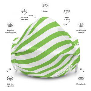 Antony Yorck Online Shop Microfaser Designer Gesichtsmaske gruen weiss gestreift Mund-Nasen-Maske anpassbar an Nase verstellbare Ohrschlaufen 0026