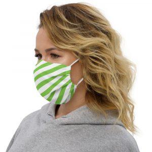 Antony Yorck Online Shop Microfaser Designer Gesichtsmaske gruen weiss gestreift Mund-Nasen-Maske anpassbar an Nase verstellbare Ohrschlaufen 0037