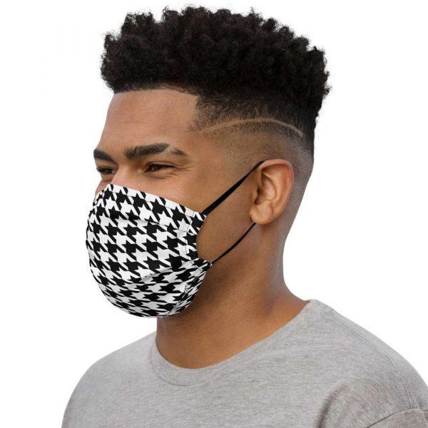 Antony Yorck Microfaser Designer Gesichtsmaske Hahnentritt schwarz weiss Mund-Nasen-Maske anpassbar an Nase verstellbare Ohrschlaufen0012