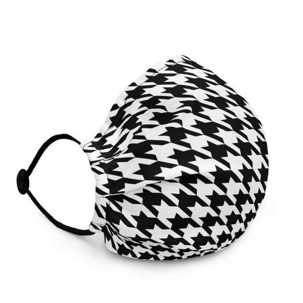 Antony Yorck Microfaser Designer Gesichtsmaske Hahnentritt schwarz weiss Mund-Nasen-Maske anpassbar an Nase verstellbare Ohrschlaufen0017