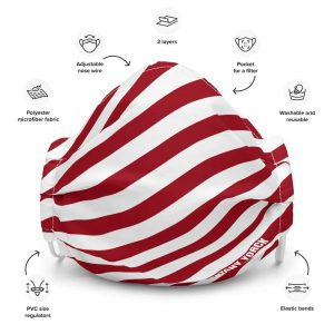 Antony Yorck Microfaser Designer Gesichtsmaske rot weiss gestreift Mund-Nasen-Maske anpassbar an Nase verstellbare Ohrschlaufen0003