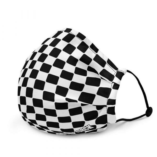Antony Yorck Microfaser Designer Gesichtsmaske Checkers schwarz weiss Mund-Nasen-Maske anpassbar an Nase verstellbare Ohrschlaufen0010
