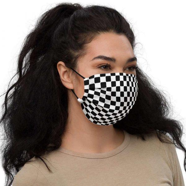 Antony Yorck Microfaser Designer Gesichtsmaske Checkers Karomuster schwarz weiss Mund-Nasen-Maske anpassbar an Nase verstellbare Ohrschlaufen0022