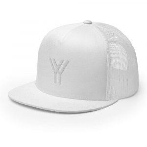 trucker cap snapback cap white logo white high profile flat bill side view