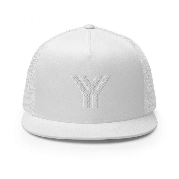 trucker cap snapback cap white logo white high profile flat bill front view