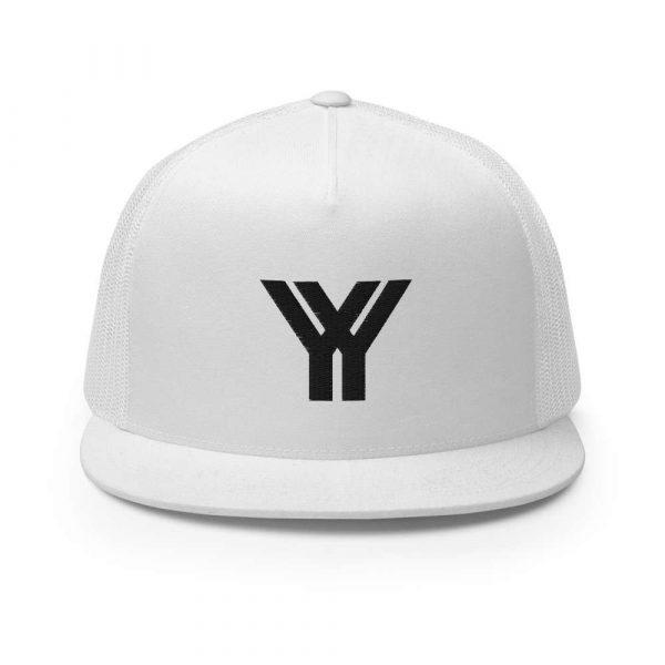 trucker cap snapback cap white logo black high profile flat bill front view