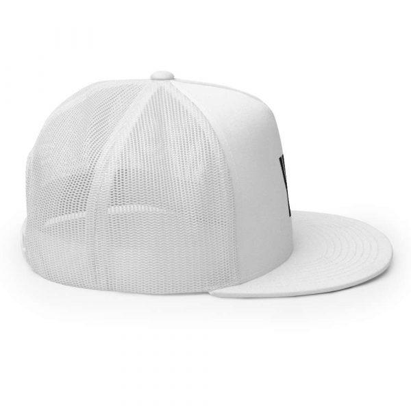 trucker cap snapback cap white logo black high profile flat bill side view r