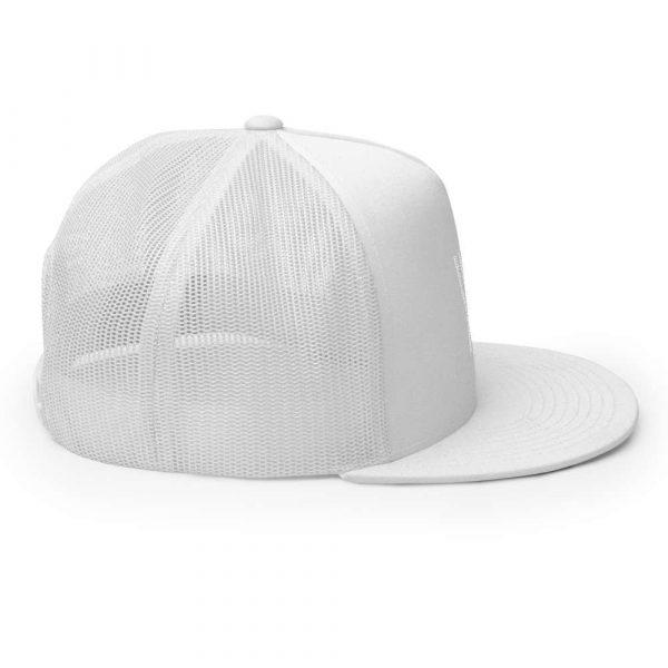 trucker cap snapback cap white logo white high profile flat bill side view right