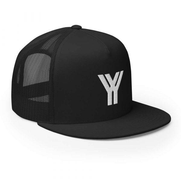 trucker cap snapback cap black logo white high profile flat bill side view right