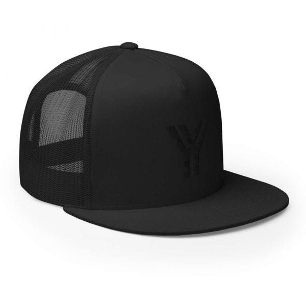 trucker cap snapback cap black logo black high profile flat bill side view right