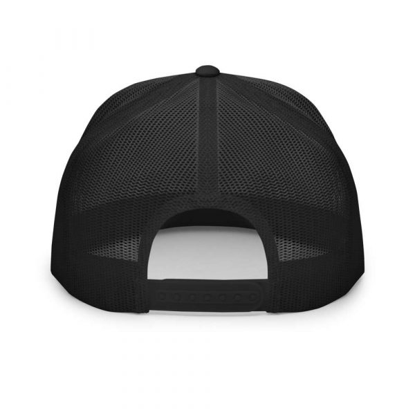 trucker cap snapback cap black logo white high profile flat bill back view